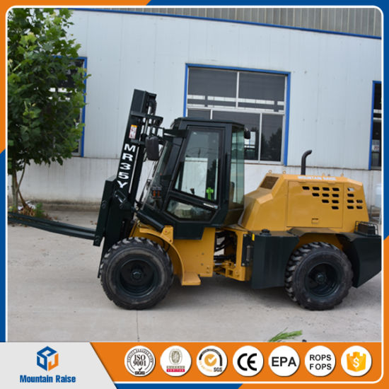 Diesel Engine Cpcy35 Rough Terrain Forklifts Manual Hydraulic Forklift Truck pictures & photos
