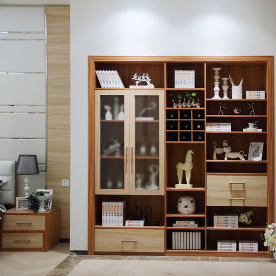 China Oppein Modern Wood Grain Decorative Cabinet with Glass