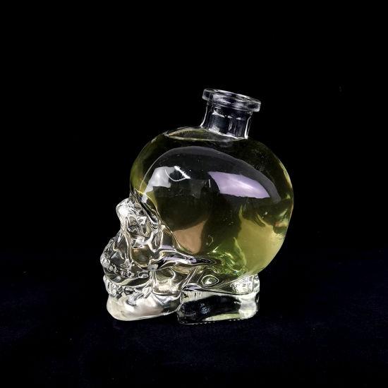 750ml Skull Shape Super Clear Glass Bottle