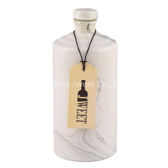 Factory Wholesale Round Shape Olive Oil Ceramic Bottle Marbling Surface