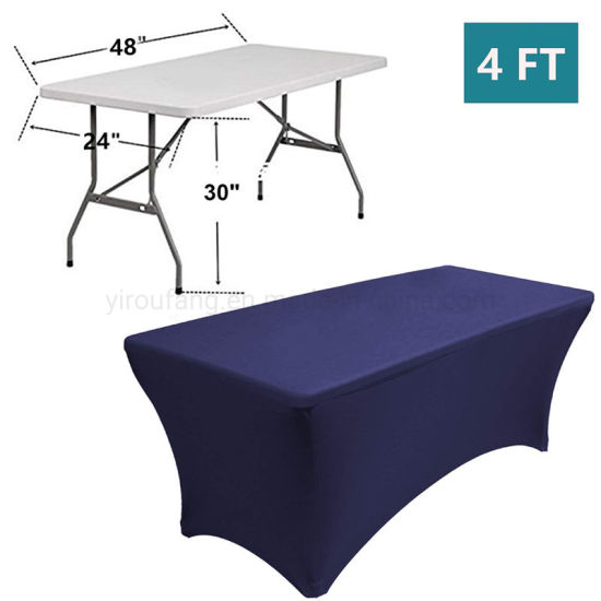 China Rectangular Ed Spandex Table Cover Navy Blue 4ft Pure