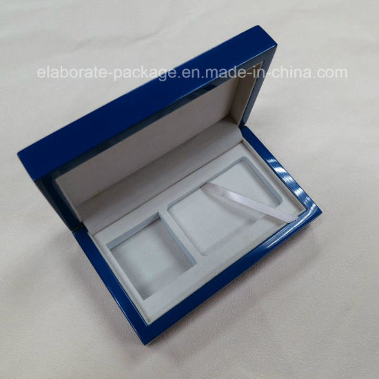 Blue Customized Wooden Coin Gift Packing Box Wholesale Jewelry Box