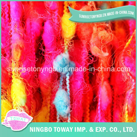 Fancy Super Bulky Color Pompom Roving Black Eyelash Fancy Yarn pictures & photos