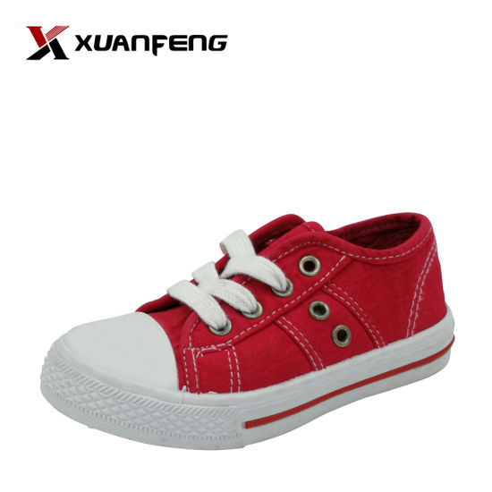 Popular Children's Injection Casuals Lace up Canvas Shoes