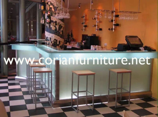 Translucent Avonite Acrylic Solid Surface LED Lighted Bar Counter pictures & photos