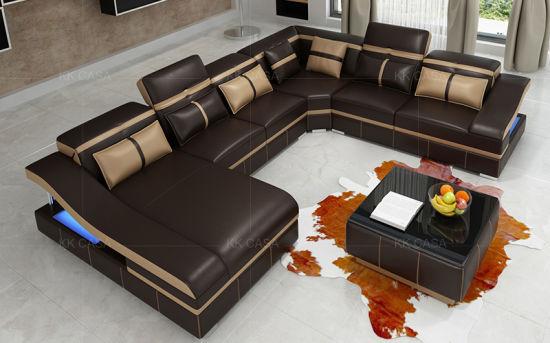 L Shape Modern Leather/Fabric Sofa Set Design Home Furniture Sofa
