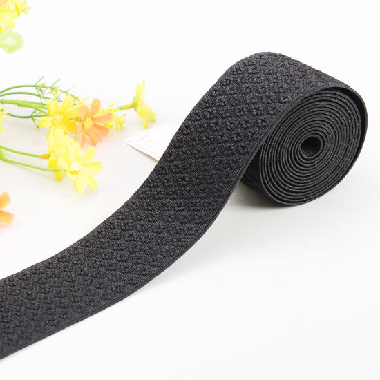 60mm Wide Embroidery Woven Elastic Waistband - Black pictures & photos