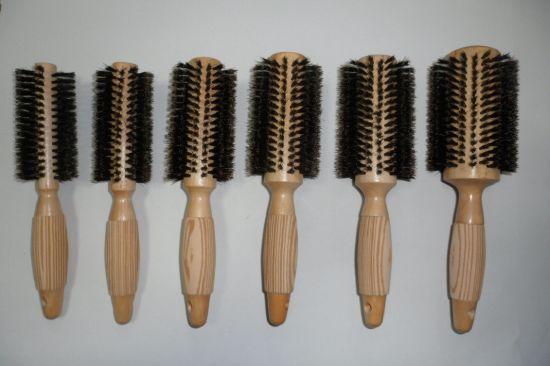 Hot Item Hot Sales Boar Bristle Rounder Brush Wooden Detangling Large Round Brush For Men Women Kids Blow Drying Wooden Rounder Hair Brush