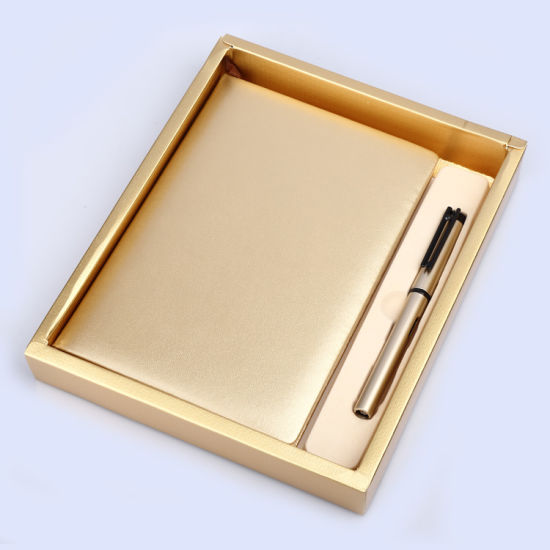New Design Office Executive Stationery Gift Set Gold Notebook Pen Promotional Gifts