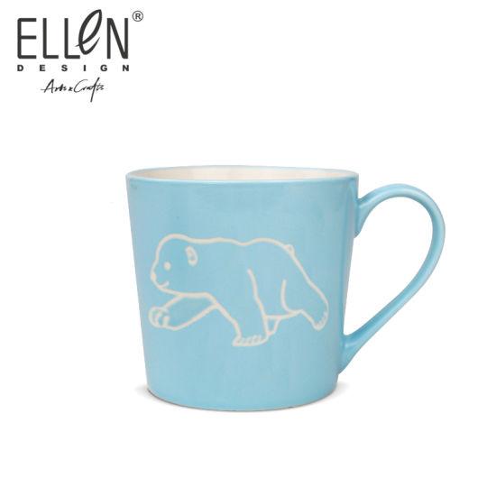 New Bone China Handprinted Blue Ceramic Coffee Mug