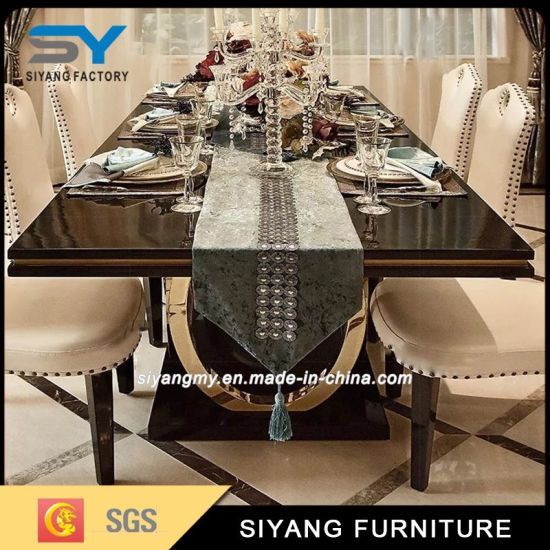 Favourable Price Dining Room Marble Dining Table Stainless Steel Table pictures & photos