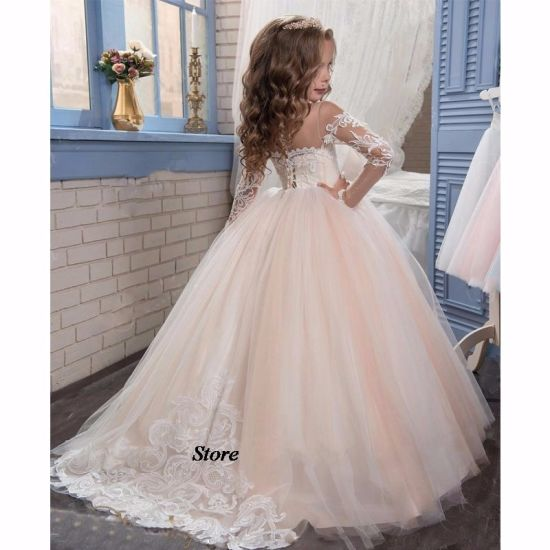 2017 Romantic Champagne Puffy Lace Flower Girl Dresses FL001 pictures & photos