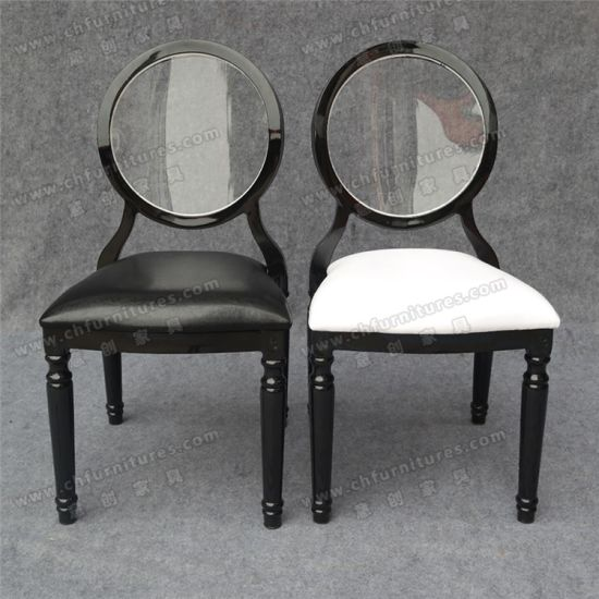 Black Stackable Louis Ghost Chair With Acrylic Transparent Back Seat  Cushion (YC D87)