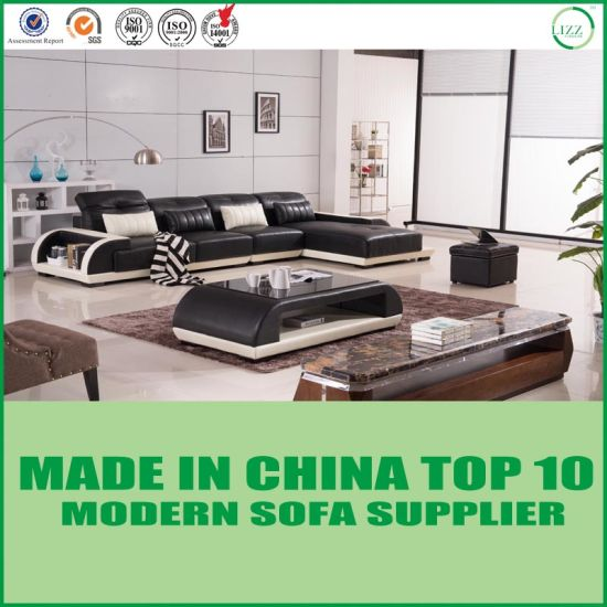 L Shape Black & White High Quality Leather Sofa for Home