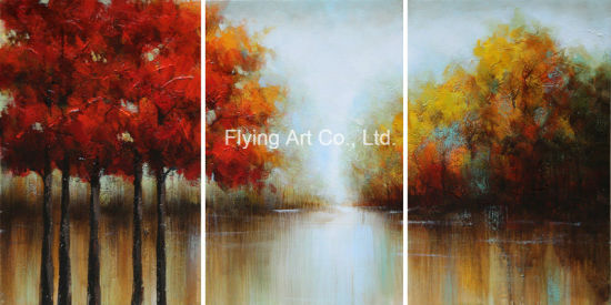china home decoration oil painting canvas painting of scenery trees