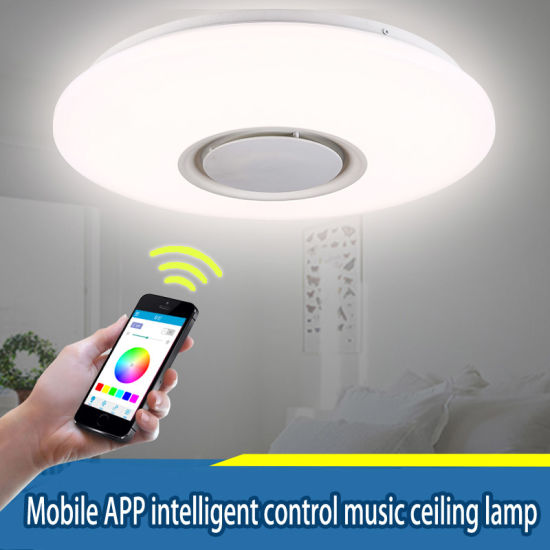 China 24w led rgb music ceiling light shade lamp bluetooth speaker 24w led rgb music ceiling light shade lamp bluetooth speaker app remote control mozeypictures Gallery