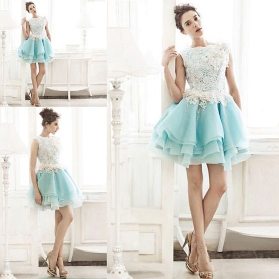Hot Sale Organza Blue Homecoming Cocktail Dress 1904
