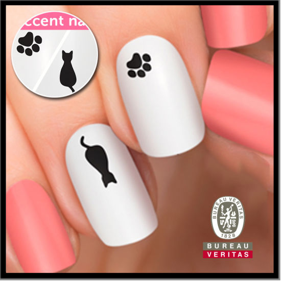 China Black And White Nail Art Featuring A Sweet Kitty And Paw Print