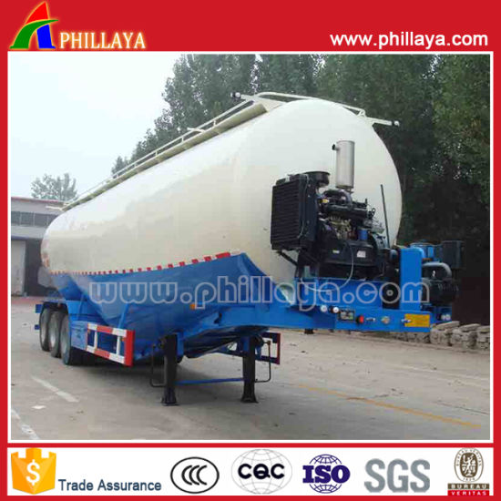 High Quality 3 Axles Bulk Powder Material Flyash Cement Tanker Semi Trailer with V Shape Compartment pictures & photos