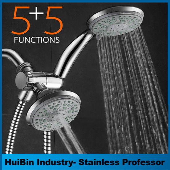 Bathroom Shower Of Dual Head 5 Functions Hand Combo 3 Ways Diverter Set