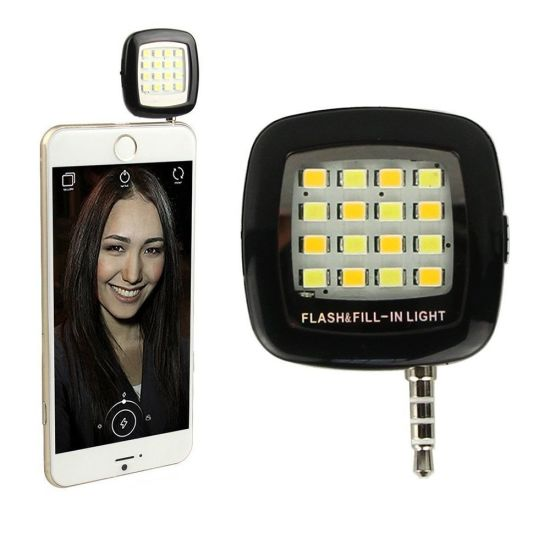 Android for iPhone Cellphone iPad Rechargeable Flashlight 16LED Selfie Shooting Fill Light