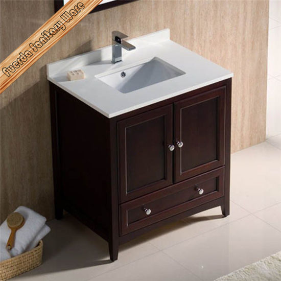 "Fed-1067 30""Single Sinks White Quartz Top Solid Wood Bathroom Vanity pictures & photos"