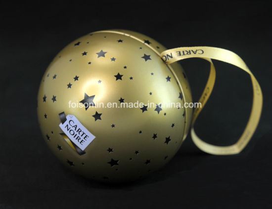 OEM Printed Cheap Small Ball Shape Tin Box for Gift Christmas Packing pictures & photos