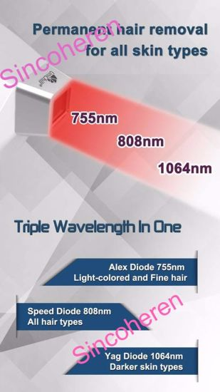 Triple Wavelength 755/808/1064nm Diode Laser Hair Removal Beauty Machine pictures & photos