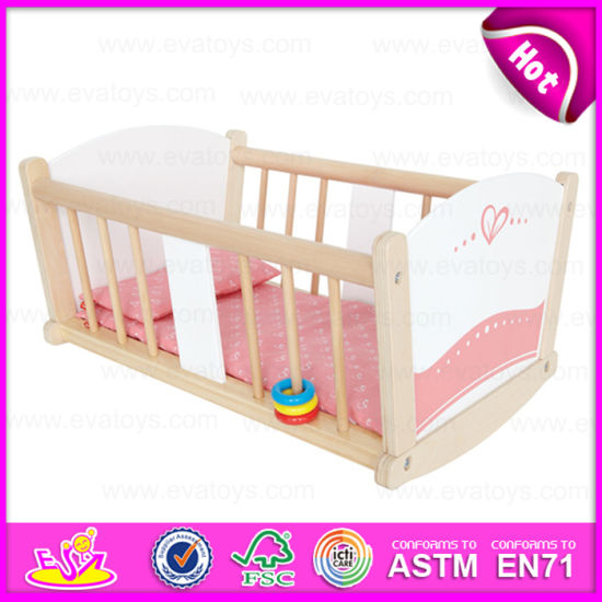China Best Sale Pretend Play Wooden Doll Bed Wooden Rocking Crib
