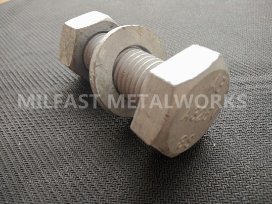 ASTM A325m 8s Structural Bolt with A563m 10s Heavy Hexagonal Nut Hot DIP Galvanized