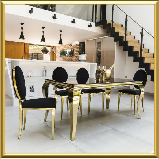 Metal Dining Room Set Luxury Furniture Dining Table Sets with 4 Chairs (1+4) & China Metal Dining Room Set Luxury Furniture Dining Table Sets with ...