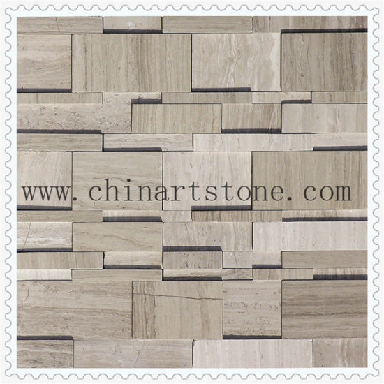 Marble Stone Mosaic 3D Polished and Split Finishes for Wall