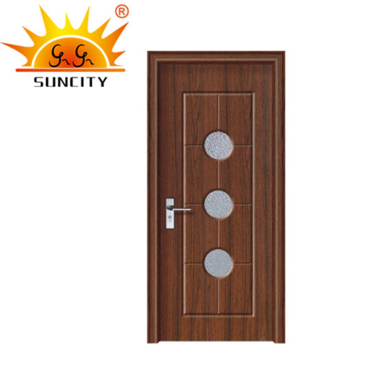 Interior Wooden PVC Door with Frosted Glass