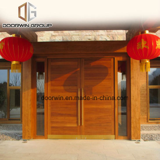 China Top Quality Teak Wood Main Entrance Double Hinged Door Design