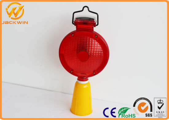 Solar Ed Red Led Flashing Traffic Warning Lights Cone Lamp