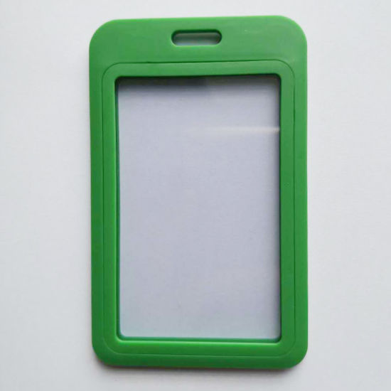 Grass Green Premium Vertical PP Plastic ID Card Badge Holder-Double Sides Clear