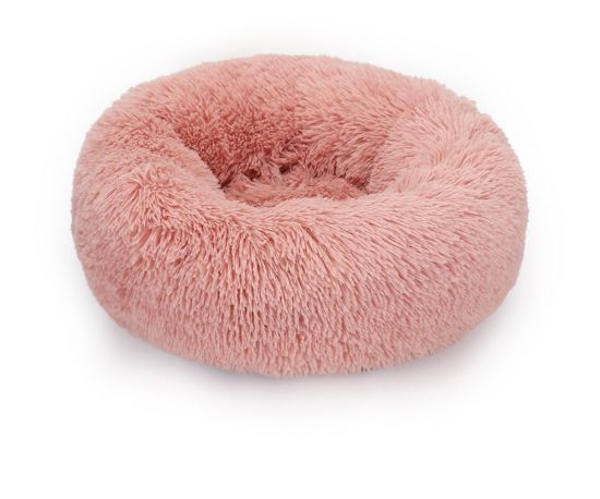 Wholesale Manufacturer OEM Soft Luxury Pink Pet Cushion Round Cat Dog Bed