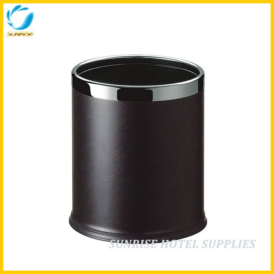 Hotel Black Double Layers Leather Waste Bin
