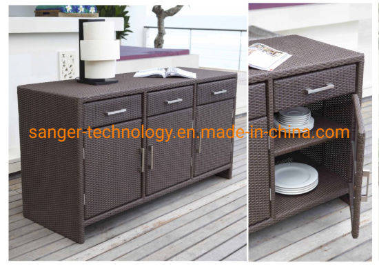 Rolling Portable Wicker Kitchen Trolley Cart Dining Restaurant W Shelves Rattan Kitchen Cabinets