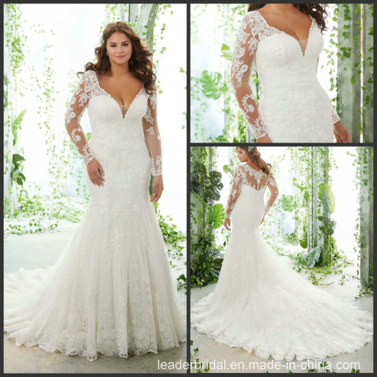 cf40b14e22 Mermaid Wedding Dress Long Sleeves Lace Bridal Gown Lb5616 pictures   photos