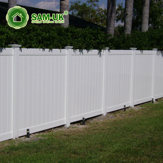 6' X 8' Vinyl Private Fence with Ornamental Top Section for Outdoor Backyard