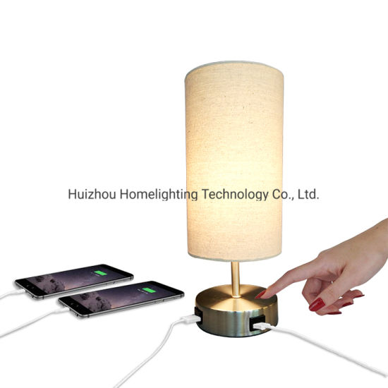 Jlt-9403 Home Living Room Bedroom Dual 2.1A USB Charging Table Desk Lamp Touch Dimming Nightstand Light