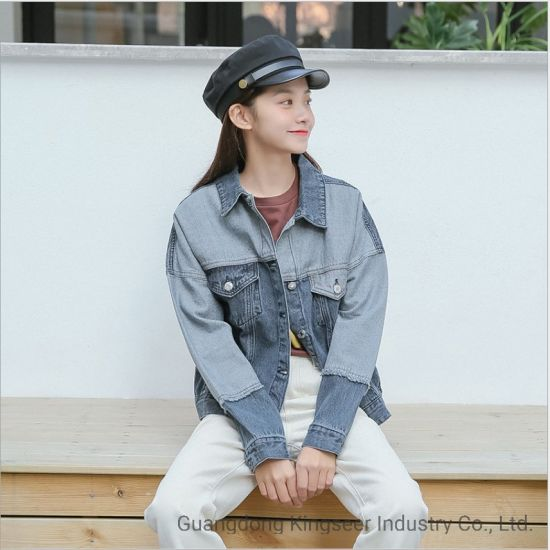 Fashion Lady Hole Wholesale Custom Denim Tear Outer Wear Women Jackets