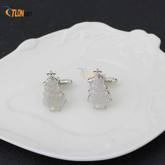 Silver Plated Christmas Tree Design Promotion Gift Cufflinks