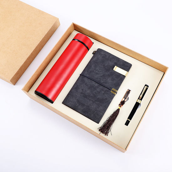 Luxury School Office Stationery Gift Set A5/A6 Gold Stamping Leather Notebook and Pen Gift Set