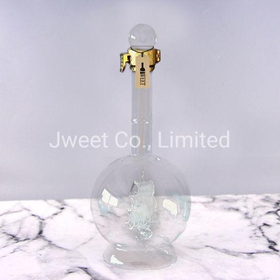 Custom Internal Boat Decoration Hand Blown Glass Wine Spirits Bottle
