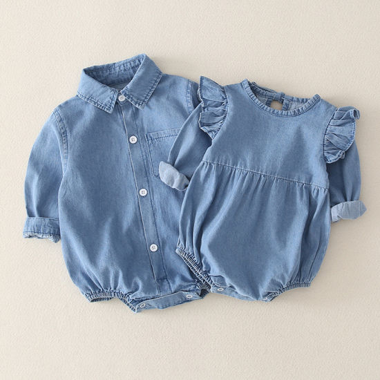 Baby Jumpsuit Spring and Autumn Clothing Denim Shirt Baby Clothes