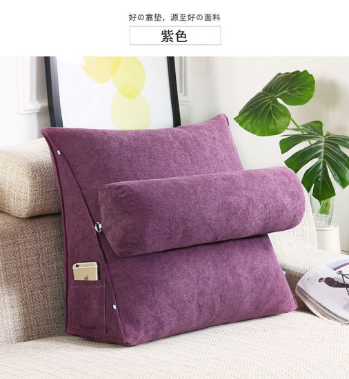 Solid Sofa Large Backrest Pillow Polyester Cheaper Decorative Washable Triangle Cushion