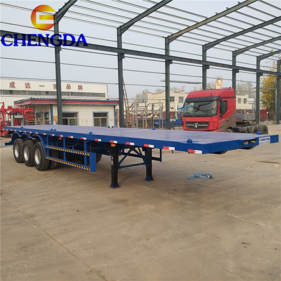 3 Axle 20FT 40FT Flatbed Container Chassis Semi Trailer