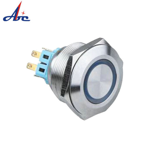 Latching LED Illuminated 28mm Stainless Steel Push Button Switch